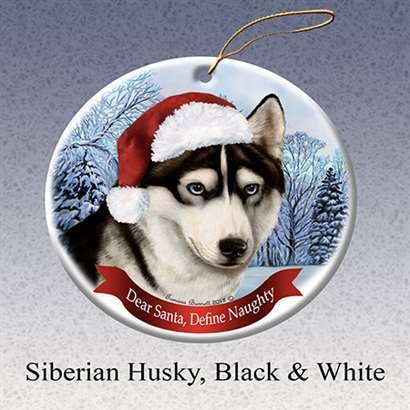 Holiday Pet Gifts Siberian Husky (Black & White) Dog Porcelain Ornament (Siberian Husky Porcelain)