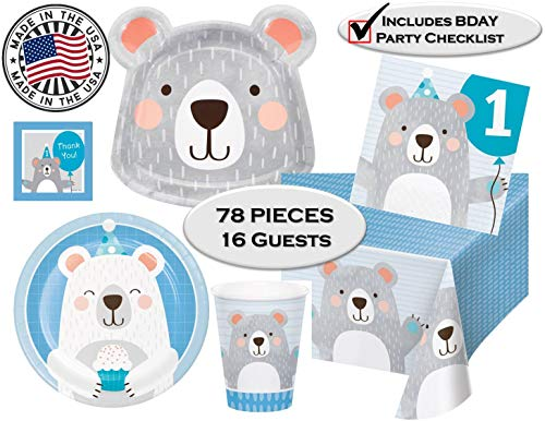 1st Birthday Boy Bear Party Supplies for 16 Guests - Dinner & Dessert Plates, Napkins, Cups, Tablecover, Thank You Stickers & Checklist - 78 Pieces - Made in The USA