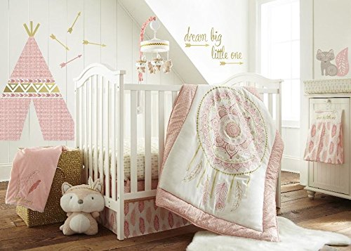 Levtex Home Baby Little Feather 5 Piece Crib Bedding Set, Coral