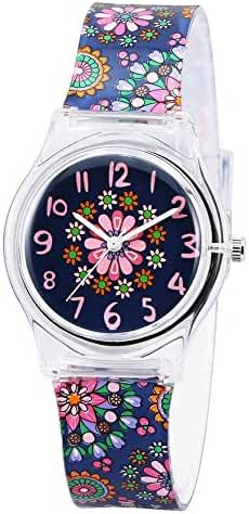 Zeiger Kids Children Girls Women Teen Watch, Time Teacher Watch with Silicon Band (Black small Floral)