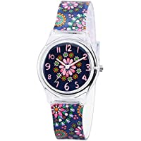 Zeiger Kids Children Girls Women Teen Watch Time Teacher Watch with Silicon Band(Black Small Floral)