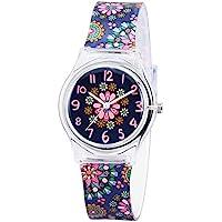 Zeiger Kids Los Niños las niñas las mujeres Teen Reloj, tiempo Teacher Reloj con Banda de silicona (Negro Pequeñas Flores)