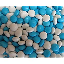 Light Blue & White Choco Candy Buttons 1 lb Bag
