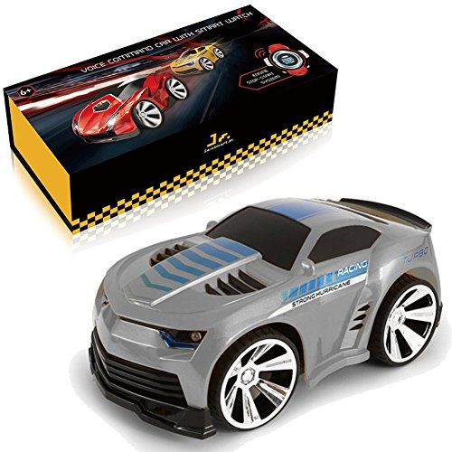 SainSmart Jr. Genuine VC-02 Voice Command Car, Voice-Activated Racing Car with Smart Watch Radio Control, Grey