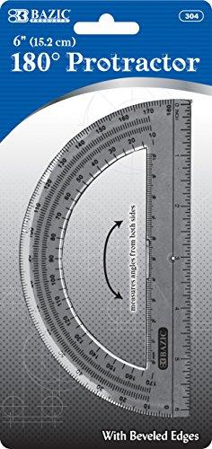 180 Degree Protractor - BAZIC Semicircular 6