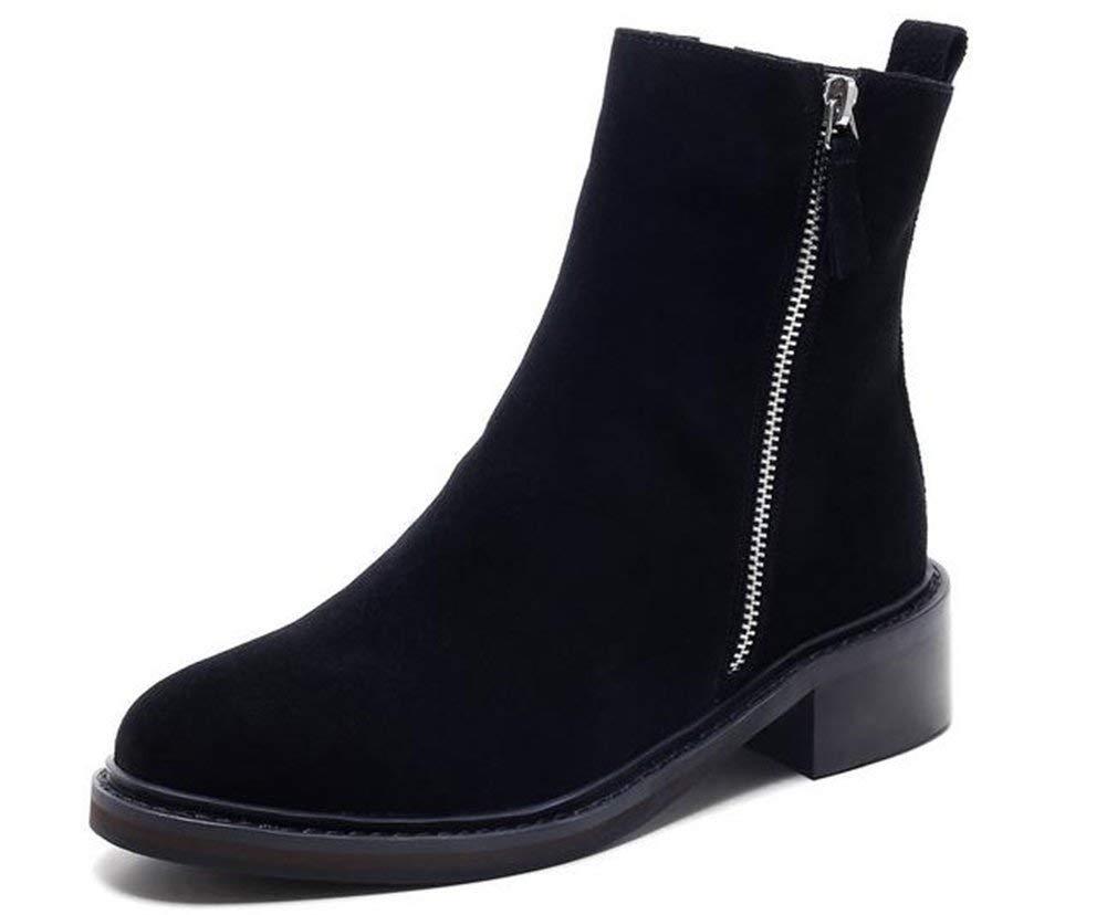 Oudan der Reißverschluss der Freizeit die Stiefel Mode-Frauen (Farbe   Schwarz, Größe   39)