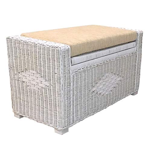 Kotlette Natural Rattan Wicker Storage Chest and Trunk Ottoman Bench with Beige Cushion Handmade Patio | Model Adam | Size 32 Inch | 5 Colors (White Solid) from Kotlette