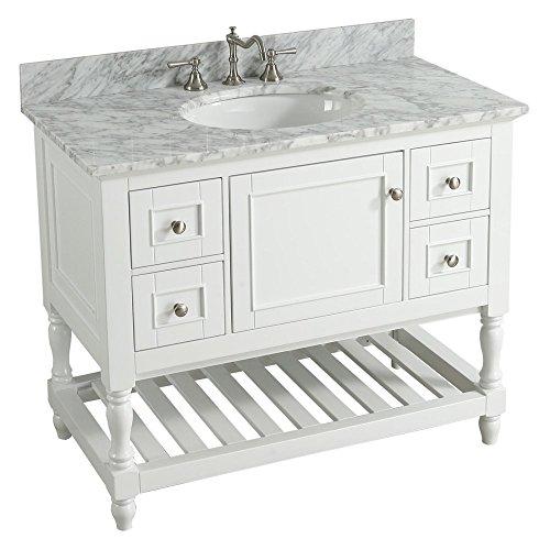 UrbanFurnishing.net - Silvia 42-Inch (42'') Bathroom Sink Vanity Set with White Italian Carrara Marble Top - White by UrbanFurnishing.net