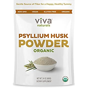 Viva Naturals Organic Psyllium Husk Powder - Fiber Support, Ultra Fine for Easy Mixing, 24 oz