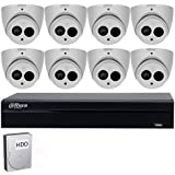 Dahua 8 Channel POE NVR Security System, 6MP 8CH POE NVR DHI-NVR2108HS-8P-S2, 8PCS 6MP POE Camera IPC-HDW4631C-A 2.8mm Fixed Lens,4TB HDD Included