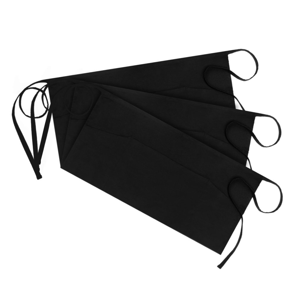 Syntus 3 Pack 3 Pockets 100% Cotton Waitress Waist Apron, 15.4-inch Black SWA