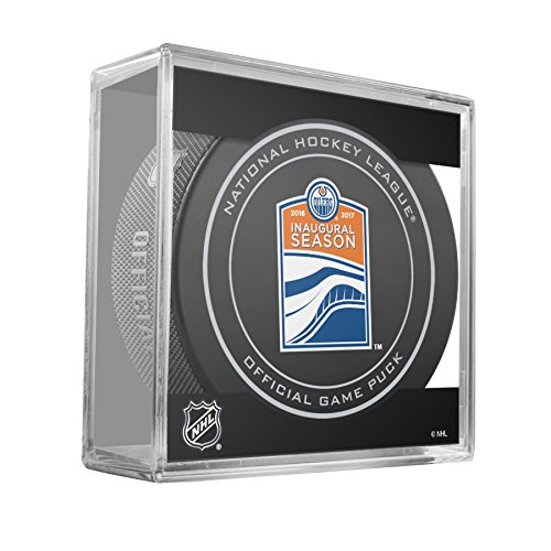 fan products of Edmonton Oilers Sher-Wood 2016-17 Inaugural Season Official Game Puck in Cube