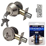 "Constructor CON-DBT-SS-S""Constructor"" Deadbolt Door Lock Set Single Cylinder Satin Nickel Finish, Satin Nickel"