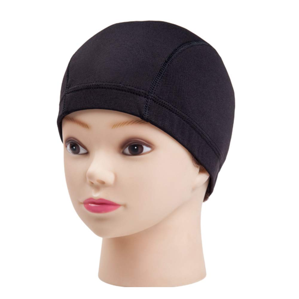 Sealive 2 Pack Soft Wig Caps, Expandable Spandex Dome Cap, Ultra Stretch Black Dome Style Wig Cap Costume Hairnets Wig Accessories for Women Men