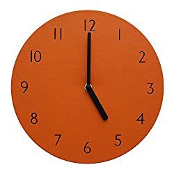 Decorative Wall Clock Silent & Non-Ticking Quartz Clock PU Leather Lightweight 0.4lb Round 9 (Orange)