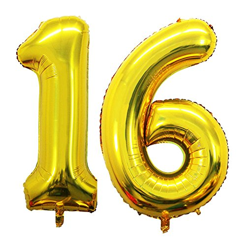 - GOER 42 Inch Gold 16 Number Balloons for 16th Birthday Party Decorations,Jumbo Foil Helium Balloons for Sweet 16 Party,16th Anniversary