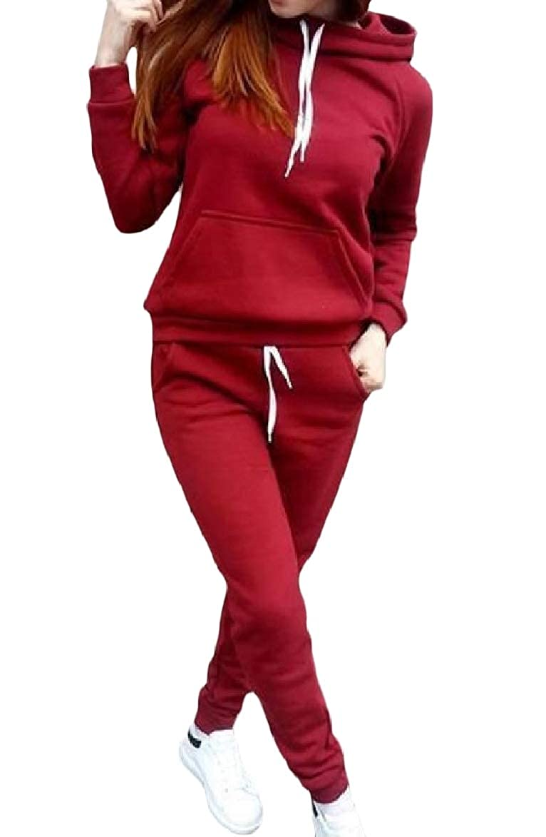 5cfa0509bc8 Abetteric Womens Weekend Pocketed Hoodie Plus Size Pure Color Set Tracksuit