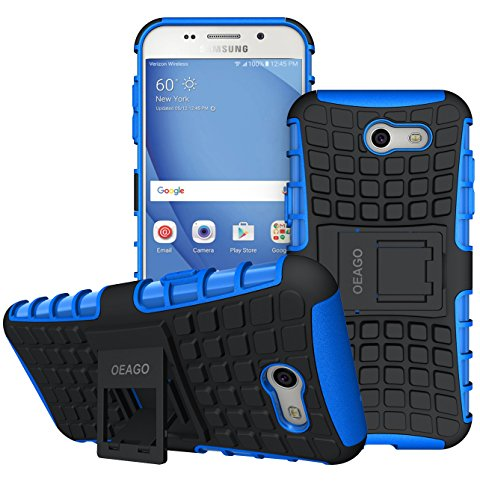 For Samsung Galaxy J3 Emerge Case, J3 Prime / J3 Mission / J3 Eclipse / J3 2017 / J3 Luna Pro / Sol 2 / Amp Prime 2 / Express Prime 2 Case, OEAGO Tough Rugged Dual Layer Case with Kickstand (Blue)