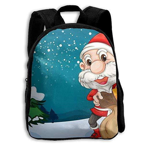 DKFDS Backpacks School Season Kids Backpack Travel Gear Daypack,Child Merry-Christmas-Santa-Claus-Christmas-tree-cartoon-HD-Wallpaper-for-Desktop-3840x2400-1920x1080 Shoulder -
