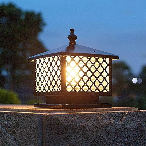 ZLHLL European Column Head Lamp Square Tile Cover Mesh Shape Post Light Garden Door Lamp Door Column Lamp Garden Villa Waterproof Outdoor Lamp (Size : S) ()