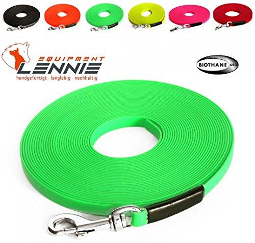 Extra leichte Super Flex BioThane® Schleppleine 13 mm (1-30 Meter [5 m], 5 Farben [Neon-Grün], GENÄHT, mit Handschlaufe (genäht), Welpenleine, Suchleine, Hundeleine)