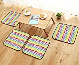 Leighhome Modern Chair Cushions Colors Giddy Up Pony Animal Art Retro Design Pattern Abstract Wild and Free Convenient Safety and Hygiene W23.5 x L23.5/4PCS Set