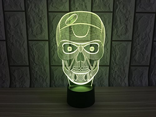 JYIFA 3D LED Skull head3 Cartoon Lamp 7 Color Change Optical Illusion Touch Mood light USB powered Bedroom Decorative Night Light Multi for Christmas Gifts (Goku Shoes For Sale)