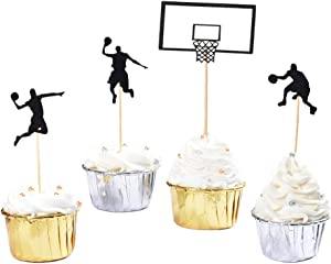 HOKPA Basketball Cupcake Toppers, Fruit Food Dessert Picks Cake Topper for Boys Kids Birthday Sport Theme Party Baby Shower Christmas Decoration (24PCS)