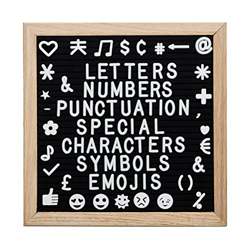 Felt Letter Board 10x10 Inch Black Oak Framed Changeable Premium Message Sign Board with White Letters and bag Including Emoji's Numbers Punctuation & Wall Mount for Office Church School or Home