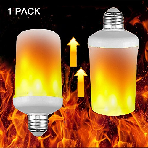 Fire Flame Light Emulation LED Bulb, Vintage Artificial Flickering Flame Decorative Lamp, Ambient Mood Torch, Old-fashioned Novelty Atmosphere Lantern, Upside Down Reversible Gravity Sensor, (108 Led Light)