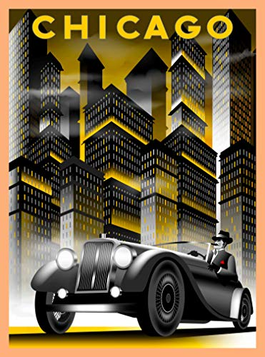 A SLICE IN TIME Chicago Illinois Car and Buildings Retro Travel Home Collectible Wall Decor Advertisement Art Deco Poster Print. 10 x 13.5 inches