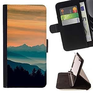 Momo Phone Case / Flip Funda de Cuero Case Cover - Sunset Montañas;;;;;;;; - Samsung Galaxy Note 5 5th N9200