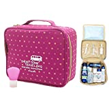 M Square Travel Bag Portable Waterproof Toiletry Bag Travel Kit Cosmetic Bag (Pink Point Wave)