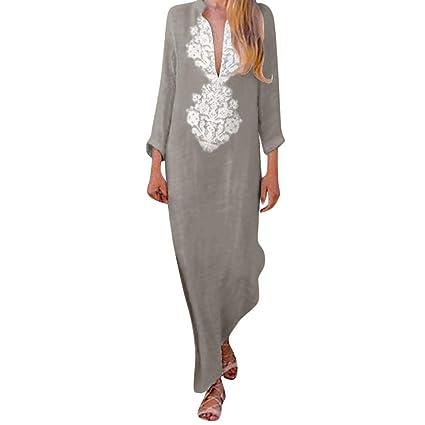 48071bb71335 Amazon.com: Sttech1 Long Sleeve Linen Dress for Women, Printed Long Sleeve  V-Neck Maxi Dress Split Hem Baggy Kaftan Long Dress: Toys & Games