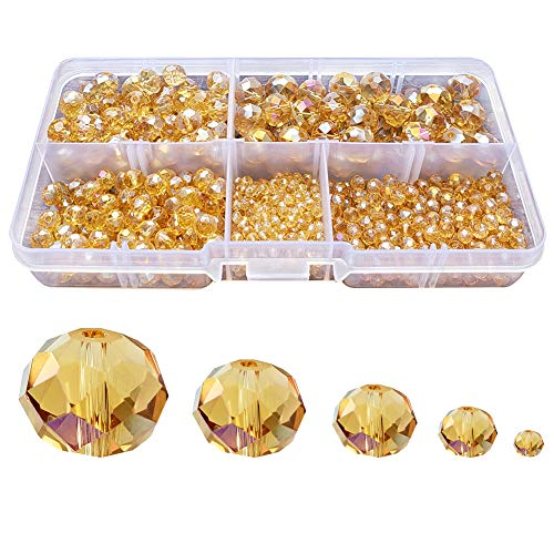 Chengmu 2-10mm Gold Champagne Rondelle Glass Beads for Jewelry Making AB Colour 710pcs Faceted Briolette Shape Crytal Spacer Beads Assortments Supplies Accessories for Bracelet Necklace with Cord ()