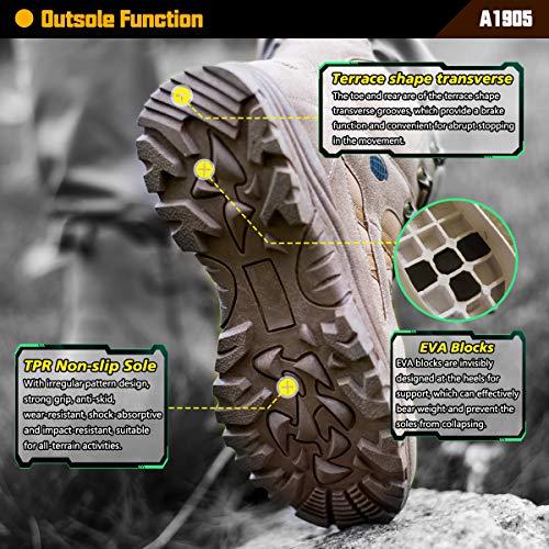Ansbowey Bottes Hommes Chaussures de Randonnée Femmes Tactiques Militaire Combat Boots Exterieur antidérapantes Bottines… 5