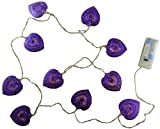 10 Warm White LED Metal Filigree Purple Heart Shaped Lights - Christmas Lights - Everyday Lights