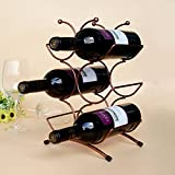 Cheap YK Artistic Chrome Home Kitchen 6 Bottle Freestanding Wine Rack Bottle Tabletop Wine Holder Display Rack,Bronze Color