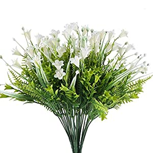 Fake Flowers XYXCMOR 4pc Plastic Flowers Artificial Greenery Morning Glory Shrubs Faux Floral Wedding Bouquet Fern Leaf Home Balcony Desktop Pot Decoration White/Green Bud 61
