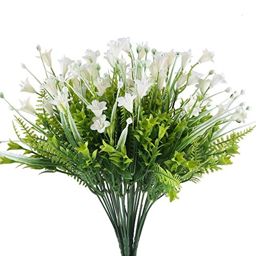Wedding Bouquet Wildflower (XYXCMOR 4pc Artificial Flowers Plants Fake Bush Plastic Morning Glory Shrubs Faux Floral Wedding Bouquet Fern Leaf Home Balcony Windowsill Desktop Center Basket Pot Vases Decoration White/Green Bud)