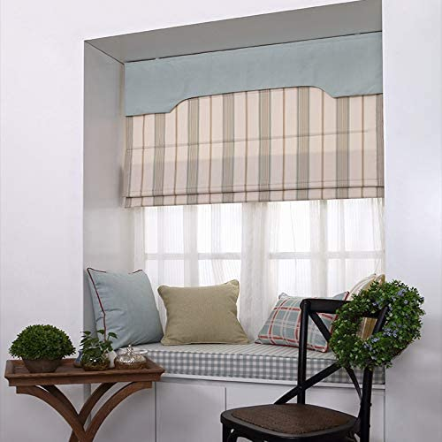 French Doors Fresh Curve 28.5 W x 36L Inches Lined Fabric Custom Geometric Roman Shades Blinds for Windows Artdix Roman Shades Blackout Window Shades Doors Kitchen Windows