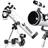 Gosky 76 Astronomical Newtonian Reflector Telescope 76mm x700mm Travel Scope - Anti-Reflection Coated Optics - With Tripod and 10mm Eyepiece Smartphone Adapter - Get the World Into Screen