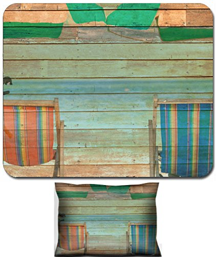 Luxlady Mouse Wrist Rest and Small Mousepad Set, 2pc Wrist Support design IMAGE: 43169549 beach chair on sand with blue sea over clear blue sky on wooden texture (Best Luxlady Mousepad Beach Chairs)