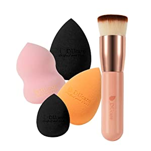 DUcare 4+1Pcs Kabuki Foundation Brush & Makeup Sponges - Foundation Synthetic Buffing Stippling Brush& Professional Beauty Makeup Sponge Blender for Liquid Blending Mineral Powder Makeup Tools