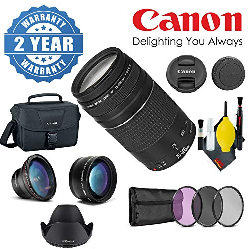 - Canon EF 75-300mm 4.0-5.6 III Lens with 3pc Pro Filter Kit, Wide Angle Lens, Tulip Lens Hood, Telephoto Lens, Canon Shoulder Bag, 2 Year Warranty, and Cleaning Kit