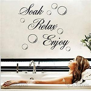 edtoy soak relax enjoy bathroom wall art quote sticker vinyl decal home art decoration