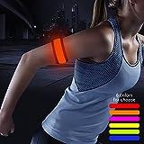 night gear - Higo LED Armband, Glow in the Dark Gift Item Reflective Running Gear LED Safety Lights Slap Bracelets for Night Walking (Orange)