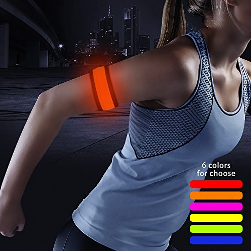 HiGo LED Armband, Glow in the Dark Gift Item Reflective Running Gear LED Safety Lights Slap Bracelets for Night Walking (Orange)