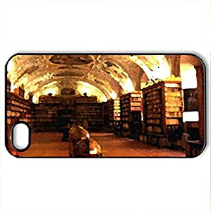 Famous Library, Prague - Case Cover for iPhone 4 and 4s (Watercolor style, Black)