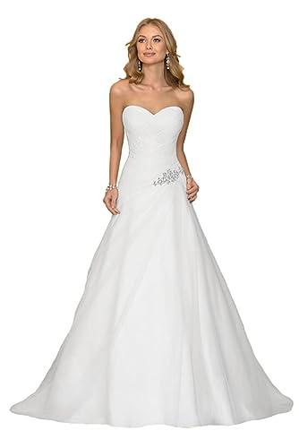 Luokadress Sweetheart Chiffon Pleated Beach Bridal Wedding Dresses